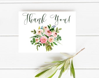 Floral Thank you card, Blush thank you card, Printable Thank you bouquet card, Baby Shower Thank You Card, Watercolor Thank you Card, Pink