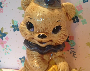 Adorable Kitsch Clown Teddy Bear with Honey Pot ~Piggy Bank~