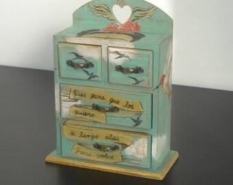 Frida Kahlo, Frida Art, Frida Heart, Frida quotes, mini chest, jewel case.