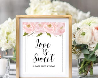 Love Is Sweet Sign, Printable Wedding Sign, Love Is Sweet Take A Treat Sign, Blush Watercolor Peonies, Silver Glitter #SG002