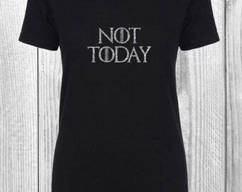 Game of Thrones Not Today T-Shirt V-neck Glitter Female Male Vinyl Unisex