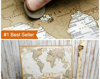 World map Travel Map pins Wall poster World map poster World poster Travel poster Travel decoration Wall decor Gold map Gift for travelers
