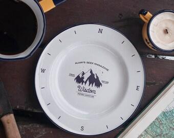 Enamel plate, camping plate, vintage enamel plate, travel plate, camp plate, plate for her, serving enamel plate, enamel dish - WISDOM plate