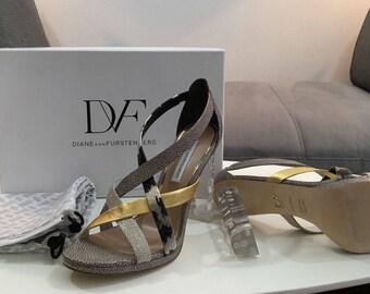 Diane von Furstenberg Ibiza white/gold multi Mu Sandals
