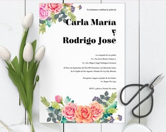 Invitaciones de boda, Spanish wedding Invitation, Floral, Rosas, Roses, Instant download invite DIY In Spanish