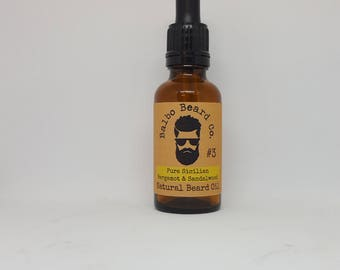 Natural Beard Oil (No.3) 10ml - Bergamot and Sandalwood Beard Oil. Beard Conditioner.Beard Conditioner. Beard Care