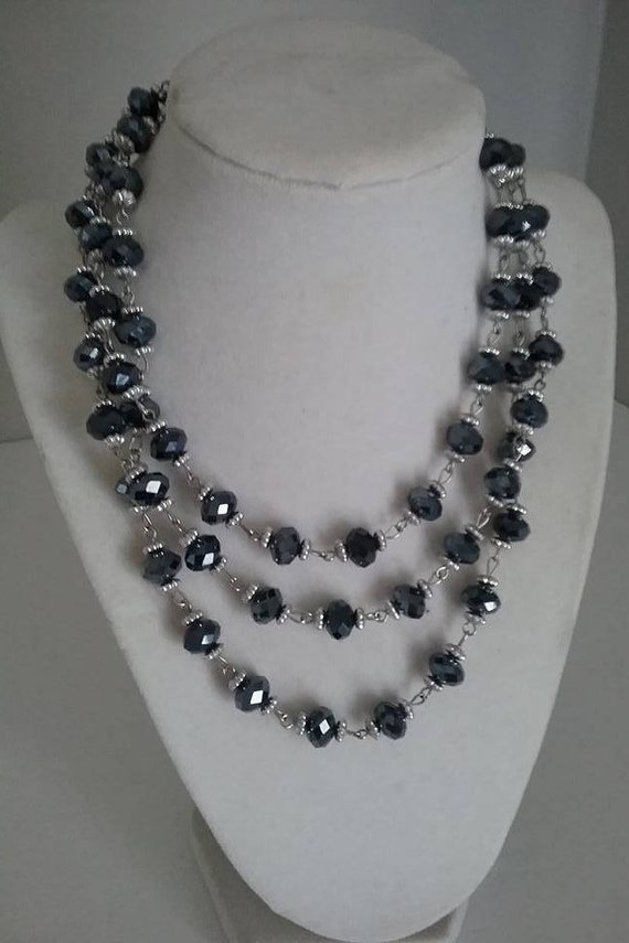 Vintage Black Glass Beads, Black and Silver Beads, #BlackFacetedGlassBeads, Silver Capped Black Beaded Necklace, Wrap Beaded Necklace
