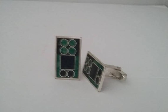 Vintage Cuff links, Vintage Green and Black Cuff Links, Large Modernized Cuff Links, Retro Geometric Cuff Links, T-Back Cuff Links for Men