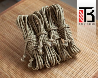 Shibari rope for bondage play and suspension - 4 x 8m 6mm linen hemp - 100% natural