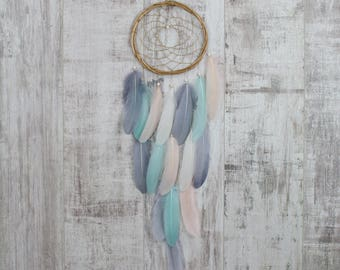 Long Blush, Mint and Gray Feather Dreamcatcher - Color Choice - Boho Girls Boys DreamCatcher Wall Hanging Tribal Crib Baby Feathers nursery
