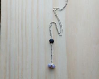 Tiny Amethyst Pendant LAVA Diffuser Y Necklace, dainty necklace, lava necklace, diffuser Necklace