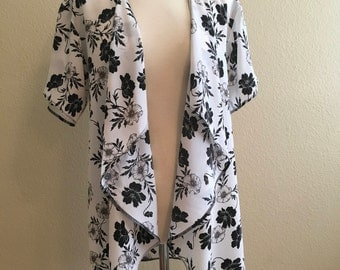 Floral black white light weight cardigan shawl cover-up