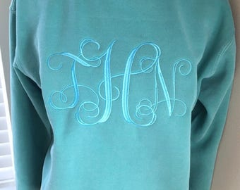 Comfort Colors Jumbo Monogram Crewneck Sweatshirt - Monogram Clothing - Monogram Sweatshirt