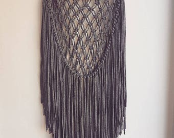 Ready to ship - Grey T-Shirt Yarn Macrame Wall Hanging