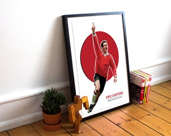 Eric Cantona Art Poster Print / Football & Soccer legend / Manchester United Poster / France / MUFC / Man U / United / Football Poster /