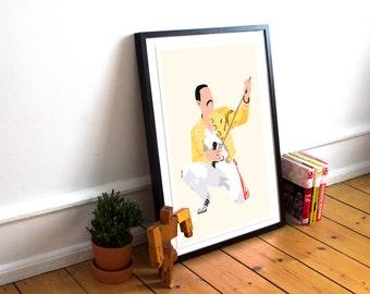 Freddie Mercury INSPIRED Poster / Queen Print / Art Poster Print / Icon  / Freddie Mercury Yellow Jacket / Music Poster / Queen Poster