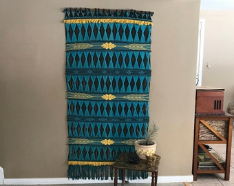 XL Boho Woven Wall Tapestry made in the Philippines, Vintage Large Macrame Wall Hanging