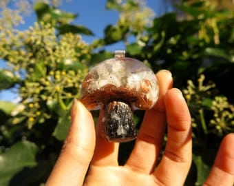 Labradorite ~ Moonstone Mushroom Orgone® Pendant With Herkimer Diamond Point