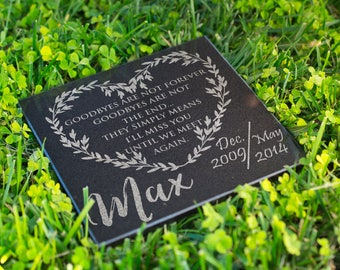 Personalized Memorial Pet Stone Granite - Goodbyes Are Not The End Engraved Headstone, Burial Stone, Grave Marker for Best Companion #7