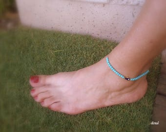 turquoise anklet, Evil eye anklet,foot bracelet, Adjustable anklet, Gift,beach,summer jewelry,fish