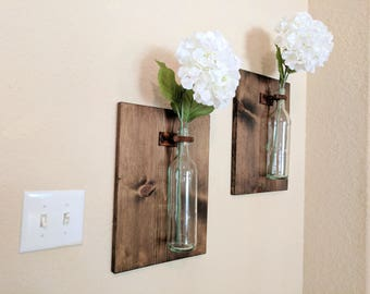 Wine Bottle Flower Vase Sconces- Clear