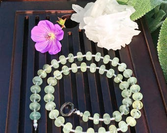 Prehnite/925 Sterling Silver Necklace. Healing Natural Gemstone Necklace.