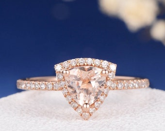 Morganite Rose Gold Engagement Ring Halo Unique Triangle Morganite Ring Diamond Half Eternity Ring Women Bridal Geometric Pave Anniversary