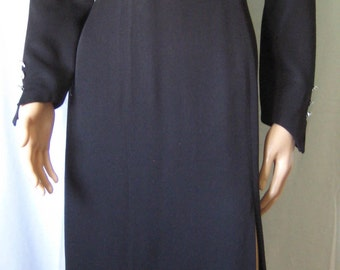 Vintage 1980s EN FRANCAIS by Huey WALTZER, Black Cocktail Dress with beautiful Crystal Buttons on cuffs. Party Dress, Evening Gown.