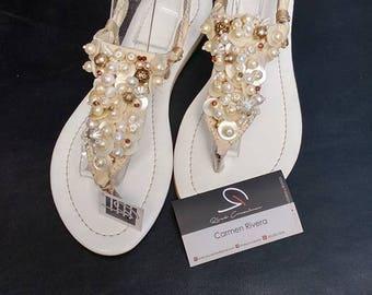 Bride Sandals, Bridesmaid Sandals, White Sandals, Beach Wedding Shoes, Bridal Sandals, Beach Wedding, Summer Sandals, Womens Sandals