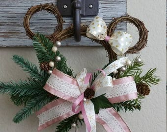 Mouse Ears Wreath, Not A Creature Was Stirring, Small Mouse Ears Christmas Wreath, Christmans Decor