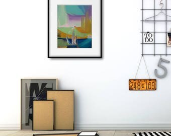 Modern Geometric Art Print, Abstract Bedroom Art Print, Xmas Wife Gift, Abstract Painting Christmas Gift, Large Abstract Poster, Xmas Wife
