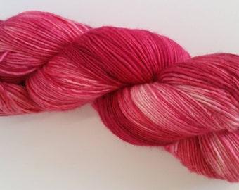 June-Bearing Strawberry - tonal reds, pinks and creams on silky merino singles - ready to ship!
