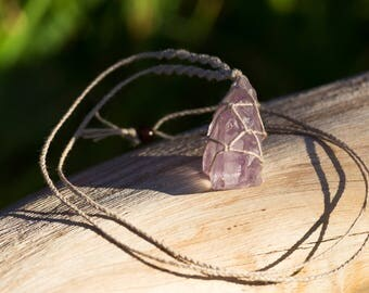 Crystal Macrame Necklace - Raw Amethyst Point