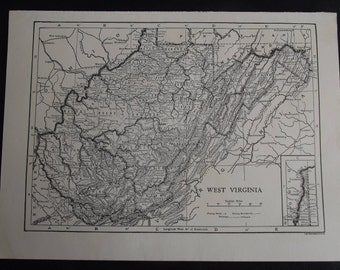 Vintage Map of West Virginia, United States, North America, c 1920s
