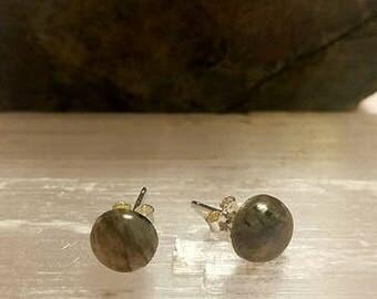 Labradorite Crystal Stud Silver Earrings