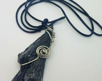 Kyanite Necklace Wire Wrapped Kyanite Necklace Kyanite Crystal Black Kyanite Necklace Wire Wrapped Black Kyanite Black Kyanite Crystal