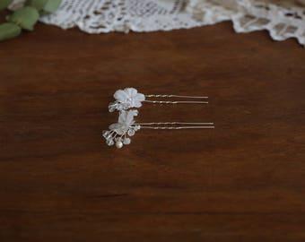 Set of 3 Silver Hair Pins, Bridal Hair Pins ,Bridal Floral Hair Pins, Wedding Hair  Pins , Bridal Hair Pieces , Bridal Hair Accessories