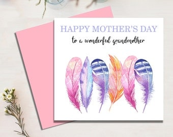 Mothers Day Card For Grandmother, Feathers, Mum, Mom, Mother, Grandmother