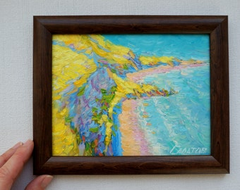 Original oil painting sea seascape framed artwork coast Impressionism home bedroom wall interior decor fine art gift for wife
