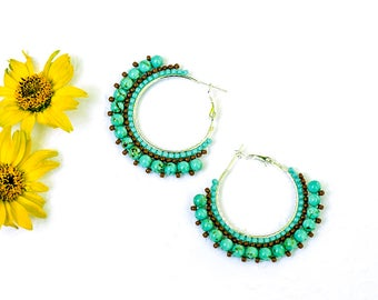 Birthday Gift|for|Her Boho Earrings Turquoise Earrings Turquoise Round Earrings Sterling Silver Plated Earrings Turquoise Jewelry|for|Mother