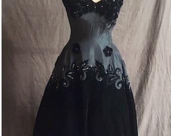 1950s bombshell black silk and silk-velvet jewel-encrusted ball gown