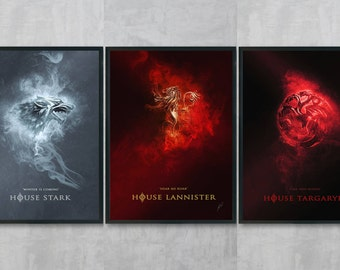 Game of Thrones Art Bundle - House Stark Poster Print - Game of Thrones Wall Art - Lannister Portrait - Living Room Wall Decor - GOT A3 Art