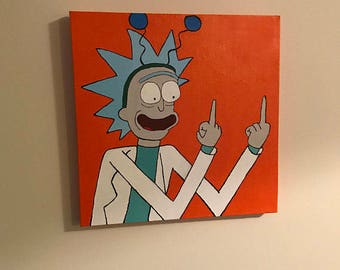 SOLD - EXAMPLE ONLY: Rick and Morty - 40x40cm painting
