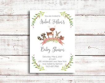 Baby shower invitation, forest animals baby shower invitation, woodland animals,raccoon, deer, hare, squirrel, printable invitation
