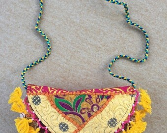 Ethnic Colour Clash Tassel Clutch, Yellow. A one of a kind embroidered Indian bag with tassels and beads.