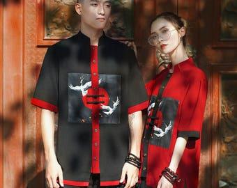 l[Original design]l White Crane shirt - Báihè  shirt