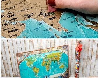 Personalized Travel, Map Personalized, Personalized Map, World Map Push Pin, World Map Scratch, Gold World Map, Pushpin Travel Map, Scratch