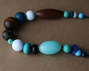 Blue/Black/White/Brown/Wood/Plastic Necklace, Chunky Necklace, Recycled Materials, Beaded Necklace