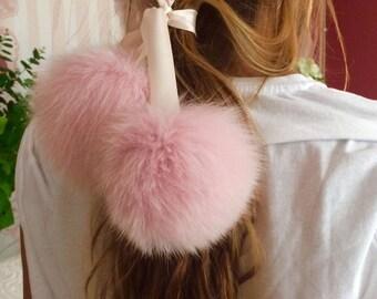Ribbon / Choker With Fox Fur Pom-Poms