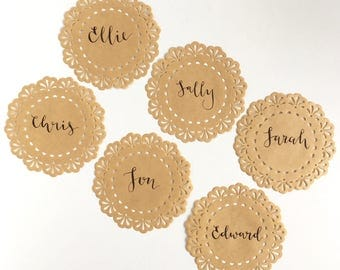 Hand Lettered Kraft Paper Doilies -  Modern Calligraphy - Place Cards, Name Cards for Tea Parties, Weddings, Baby Showers, Birthdays